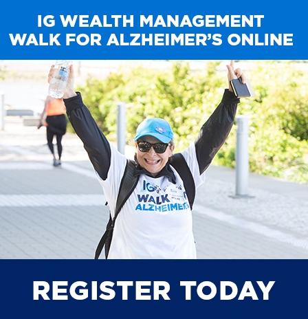 promoting IG Wealth Management Walk for Alzheimer's online event