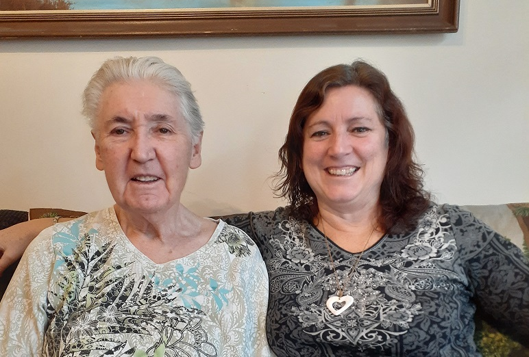 Sherri (right) with her mother Bev. Both of them are living with dementia.