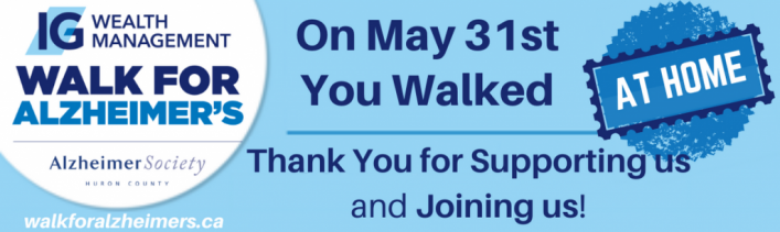 Thank you for Walking at Home in the IG Wealth Management Walk for Alzheimer's