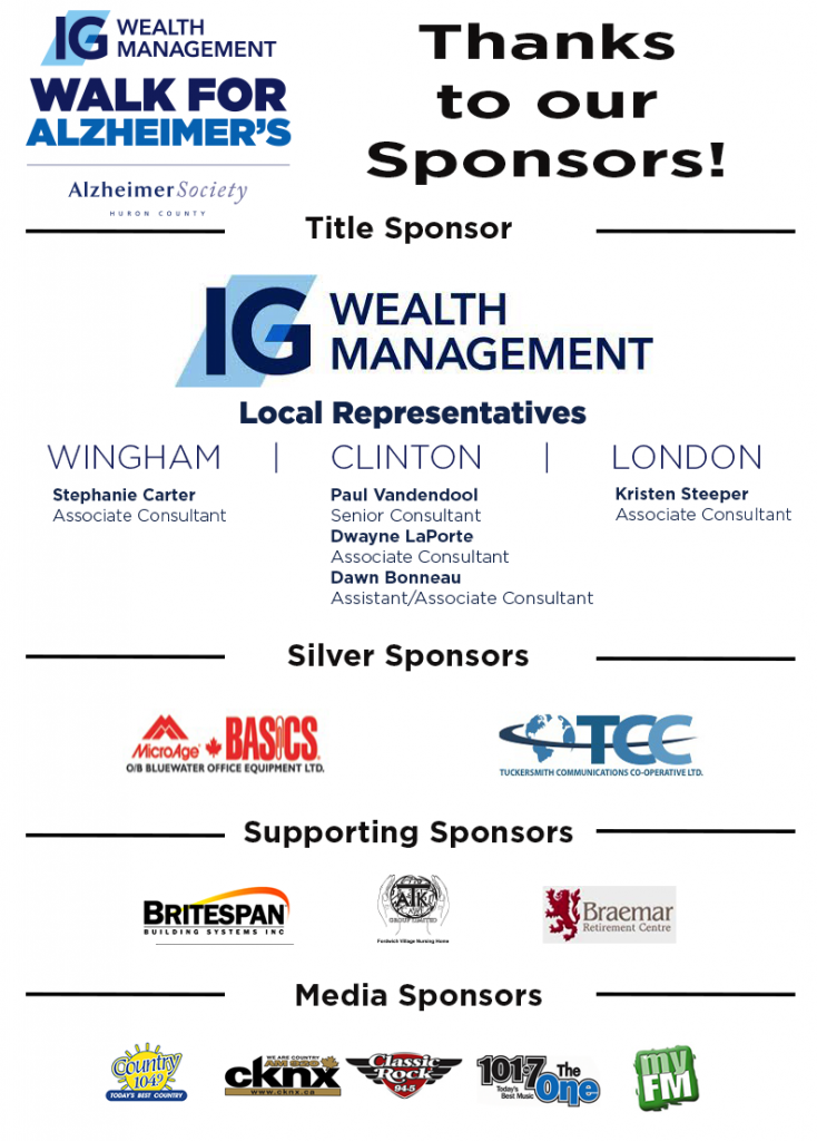 Thank you IG Wealth Management Walk for Alzheimer's Sponsors