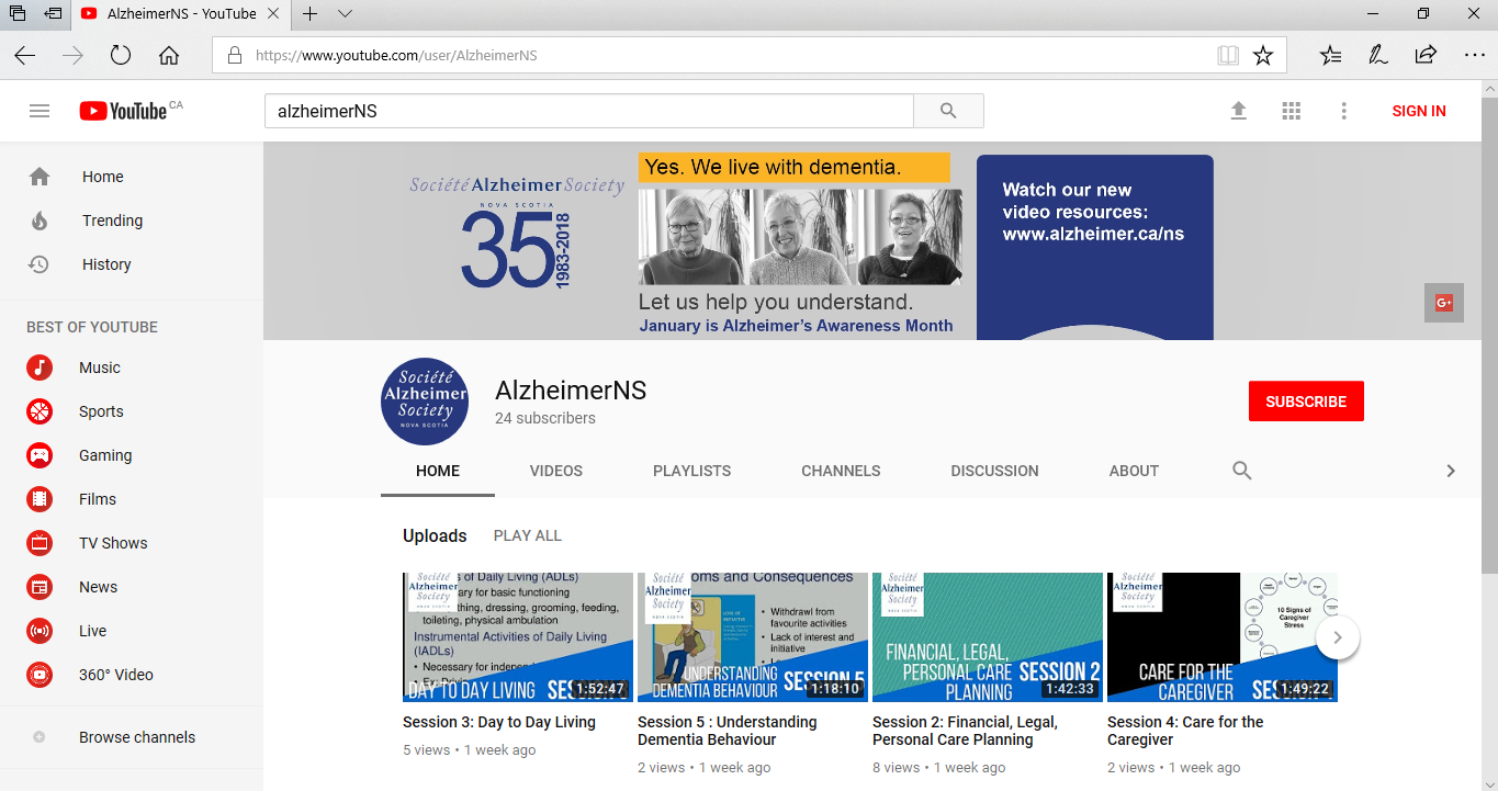 Alzheimer Society NS Youtube