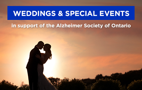 "A picture of a silhouette of a couple kissing with text that says, ""Weddings and Special Events in support of the Alzheimer Society of Ontario"""